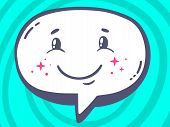 Illustration Of Speech Bubble With Icon Of Smile On Blue Pattern Background.