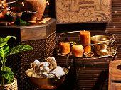 Luxury ayurvedic spa massage still life.