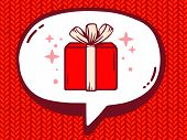 Illustration Of Speech Bubble With Icon Of Gift Box On Red Jersey Pattern Background