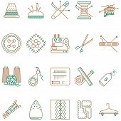 Flat line icons vector collection of sewing items