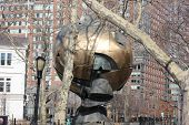 Hemisphere Statue salvaged from September 11th at Battery Park in New York City