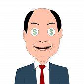 foto of greedy  - Greedy businessman with dollar symbols in eyes - JPG