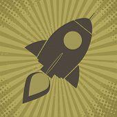 Vintage Retro Rocket.Concept