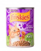 DEPEW, OK, USA - January 19th, 2015: Can of Friskies turkey and giblets cat food. Friskies is a brand owned by Nestle Purina PetCare, St Louis, MO, USA.