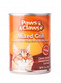 DEPEW, OK, USA - January 19th, 2015: Can of Paws and Claws cat food, sold by Tractor Supply Company, and manufactured by Mars Petcare, Franklin, TN, USA.