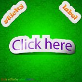Click Here Icon Sign. Symbol Chic Colored Sticky Label On Green Background. Vector