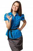 cute girl in the blue shirt shows ok