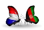 Two Butterflies With Flags On Wings As Symbol Of Relations Holland And Afghanistan