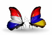 Two Butterflies With Flags On Wings As Symbol Of Relations Holland And Armenia