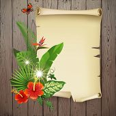 Colorful background with tropical plants and flowers for your original designs!