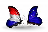 Two Butterflies With Flags On Wings As Symbol Of Relations Holland And Eu