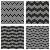 Tile chevron vector dark pattern set with black and grey zig zag background