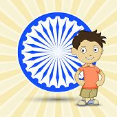 image of ashoka  - ashoka wheel with boy on creative background - JPG