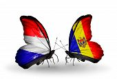 Two Butterflies With Flags On Wings As Symbol Of Relations Holland And Moldova
