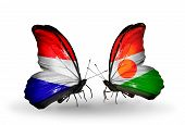 Two Butterflies With Flags On Wings As Symbol Of Relations Holland And Niger