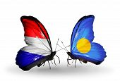 picture of holland flag  - Two butterflies with flags on wings as symbol of relations Holland and Palau - JPG