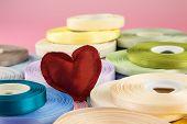 Red Handmade Love Valentine Heart  On Ribbon Rolls