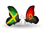 Two Butterflies With Flags On Wings As Symbol Of Relations Jamaica And  Angola