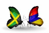 Two Butterflies With Flags On Wings As Symbol Of Relations Jamaica And  Armenia