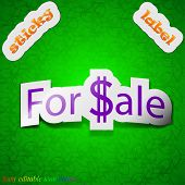 For Sale Icon Sign. Symbol Chic Colored Sticky Label On Green Background. Vector
