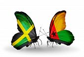 Two Butterflies With Flags On Wings As Symbol Of Relations Jamaica And Guinea Bissau