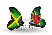Two Butterflies With Flags On Wings As Symbol Of Relations Jamaica And Dominica