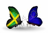 Two Butterflies With Flags On Wings As Symbol Of Relations Jamaica And Eu