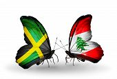 Two Butterflies With Flags On Wings As Symbol Of Relations Jamaica And Lebanon