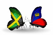 Two Butterflies With Flags On Wings As Symbol Of Relations Jamaica And Liechtenstein