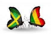 Two Butterflies With Flags On Wings As Symbol Of Relations Jamaica And Mali