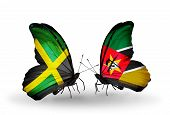Two Butterflies With Flags On Wings As Symbol Of Relations Jamaica And Mozambique