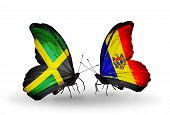 Two Butterflies With Flags On Wings As Symbol Of Relations Jamaica And Moldova