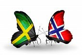 Two Butterflies With Flags On Wings As Symbol Of Relations Jamaica And Norway