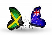 Two Butterflies With Flags On Wings As Symbol Of Relations Jamaica And New Zealand