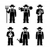 picture of farmer  - Farmer Figure Pictogram Icons  - JPG