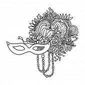 Carnival elements. Mask, feathers, beads, flowers. Black outline drawing