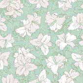 White lilies. Seamless pattern pastel mint background