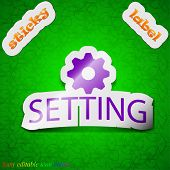 Cog Settings Icon Sign. Symbol Chic Colored Sticky Label On Green Background. Vector