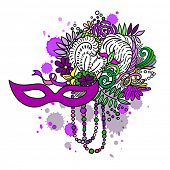 Carnival elements in vivid colors. Mask, feathers, beads, flowers. Watercolor blots and stains in background