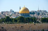 picture of aqsa  - Dome of the rock as seen from the mount of olives - JPG