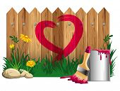 pic of wooden fence  - Red heart shape - JPG