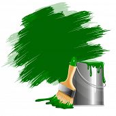 picture of paint pot  - Vector background of thick green paint smears - JPG