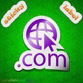 Domain Com Icon Sign. Symbol Chic Colored Sticky Label On Green Background. Vector