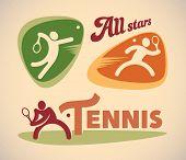 Set of vintage styled tennis labels. Raster image.
