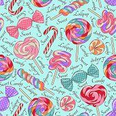 Lollipop pattern, blue