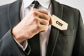 Businessman Removing A Wooden Card With Chf Sign