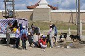 Mongolian people have picnic outside Erdene Zuu in Kharkhorin Mongolia.