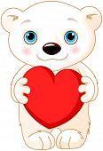 Illustration of very cute polar bear holds a heart