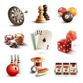 stock photo of bowling ball  - Game realistic icons set with casino sport and leisure games isolated vector illustration - JPG