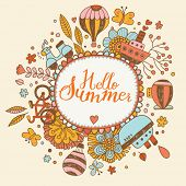 Hello summer concept card in bright colors. Stylish background in vector